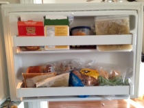 My freezer isn't always this organized. It's often totally out of control! Here we have some different gluten-free, vegan burgers, homemade broth, chili, pumpkin, green beans and a loaf of gf bread.