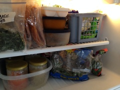 Bags of kale and spinach, an ice cube tray of chicken broth, jars of soup, and fresh frozen basil ... handy!
